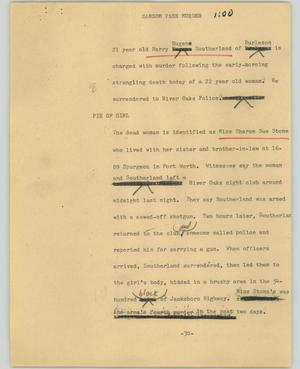 Primary view of object titled '[News Script: Sansom park murder]'.