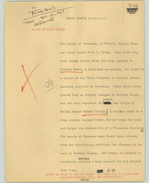 Primary view of object titled '[News Script: Phony doctor]'.