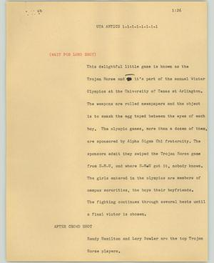 Primary view of object titled '[News Script: UTA Antics]'.