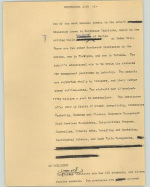 Primary view of object titled '[News Script: Northwood]'.