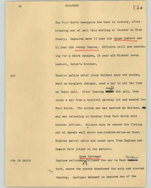 Primary view of object titled '[News Script: Escapees]'.