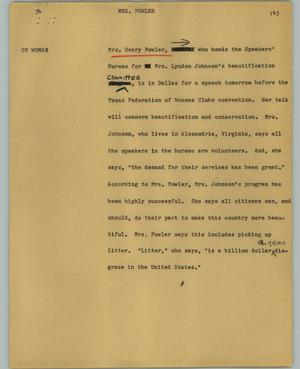 Primary view of object titled '[News Script: Mrs. Fowler]'.