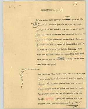Primary view of object titled '[News Script: Typewriters]'.