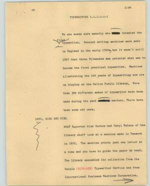 News Script: Typewriters, NBC News Scripts