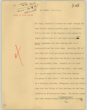 Primary view of object titled '[News Script: On strike]'.