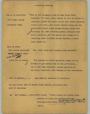 Primary view of object titled '[News Script: Nursing shortage]'.