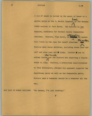 Primary view of object titled '[News Script: Winters]'.