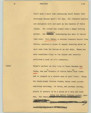 Primary view of object titled '[News Script: Treasure]'.