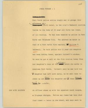 Primary view of object titled '[News Script: Jones murder]'.