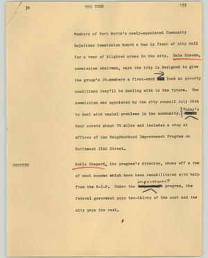 Primary view of object titled '[News Script: Bus tour]'.
