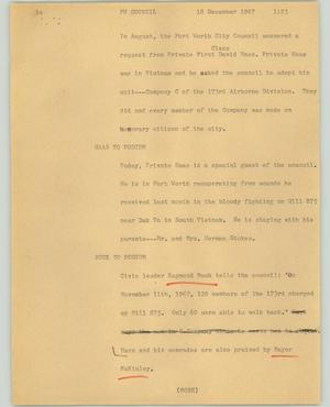 Primary view of object titled '[News Script: FW council]'.
