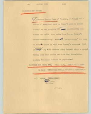 Primary view of object titled '[News Script: George Bush]'.