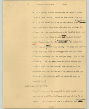 Primary view of object titled '[News Script: Dallas courthouse]'.