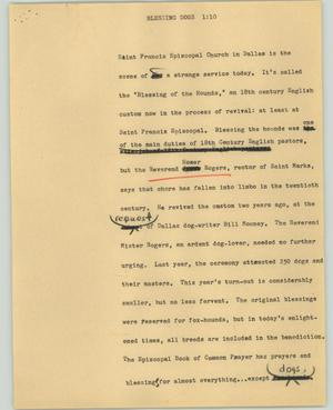 Primary view of object titled '[News Script: Blessing dogs]'.