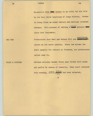 Primary view of object titled '[News Script: Vardas]'.