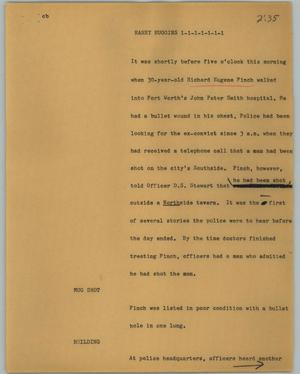 Primary view of object titled '[News Script: Harry Huggins]'.
