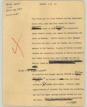 Primary view of object titled '[News Script: Sundaco]'.