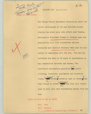 Primary view of object titled '[News Script: Closing law]'.