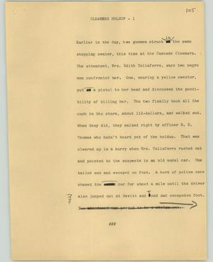 Primary view of object titled '[News Script: Cleaners holsup]'.
