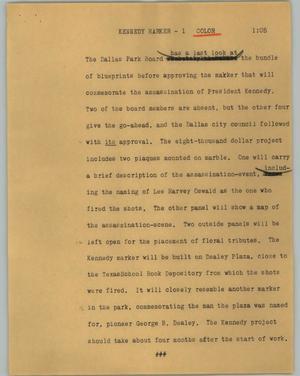 [News Script: Kennedy marker]