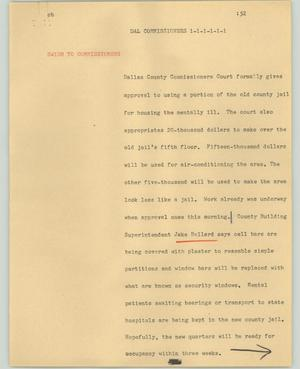 Primary view of object titled '[News Script: Dal commissioners]'.