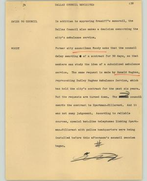 Primary view of object titled '[News Script: Dallas council revisited]'.