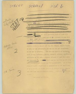 Primary view of object titled '[News Script: Street standup]'.
