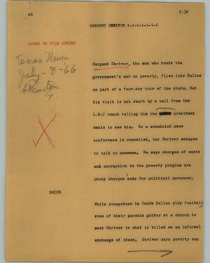 Primary view of object titled '[News Script: Sargent Shriver]'.