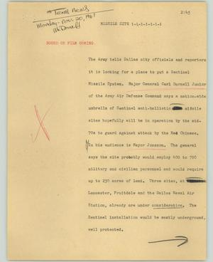 Primary view of object titled '[News Script: Missile site]'.
