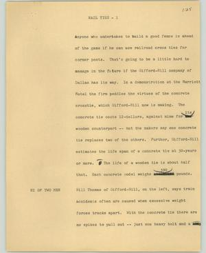 Primary view of object titled '[News Script: Rail ties]'.