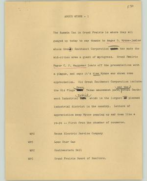 Primary view of object titled '[News Script: Angus Wynne]'.