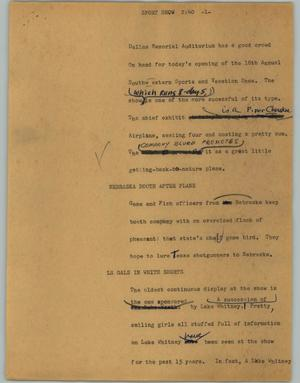 Primary view of object titled '[News Script: Sport show]'.