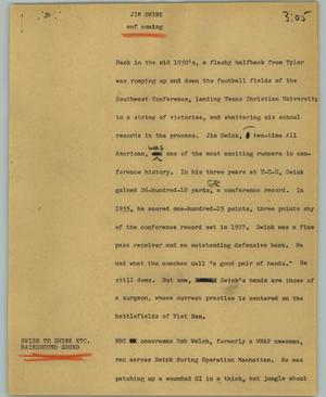 Primary view of object titled '[News Script: Jim Swink]'.