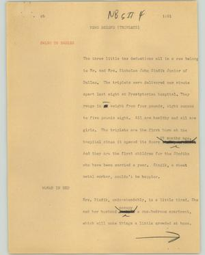 Primary view of object titled '[News Script: News briefs (Triplets)]'.