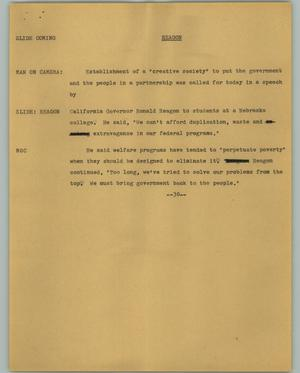 Primary view of object titled '[News Script: Reagon]'.