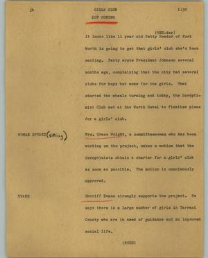 Primary view of object titled '[News Script: Girls Club]'.