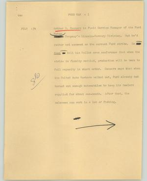 Primary view of object titled '[News Script: Ford man]'.