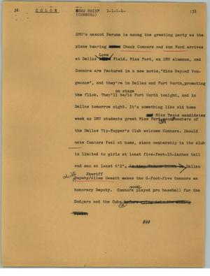 Primary view of object titled '[News Script: Connors]'.