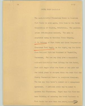 Primary view of object titled '[News Script: Hotel sale]'.