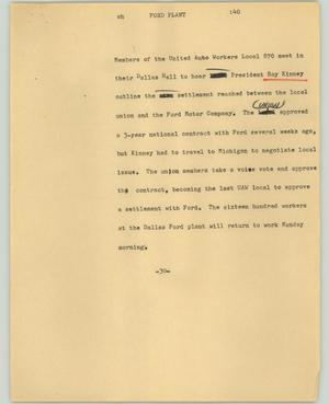Primary view of object titled '[News Script: Ford plant]'.