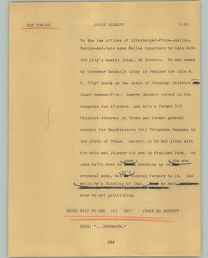 Primary view of object titled '[News Script: Judge Gossett]'.