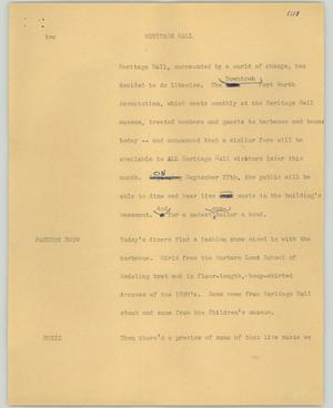 Primary view of object titled '[News Script: Heritage Hall]'.