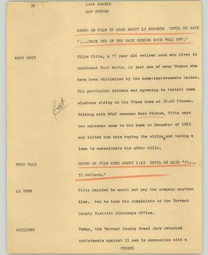 Primary view of object titled '[News Script: Loan sharks]'.