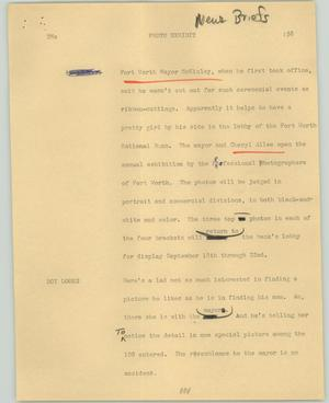 Primary view of object titled '[News Script: Photo exhibit]'.