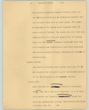 Primary view of object titled '[News Script: Research center]'.