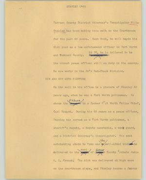 Primary view of object titled '[News Script: Stanley]'.
