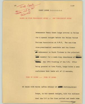 Primary view of object titled '[News Script: Cabot Lodge]'.