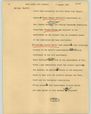 Primary view of object titled '[News Script: Fort Worth City Council]'.