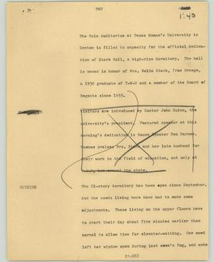 Primary view of object titled '[News Script: TWU]'.