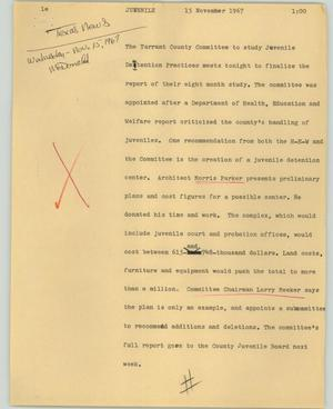 Primary view of object titled '[News Script: Juvenile]'.